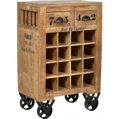 Meuble range-bouteilles en bois massif de manguier avec 2 tiroirs coloris antique L. 55 x P. 35 x H. 85 cm collection Ronse