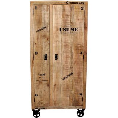 Meuble cabinet en bois massif de manguier avec 2 portes coloris antique L. 90 x P. 45 x H. 190 cm collection Ronse