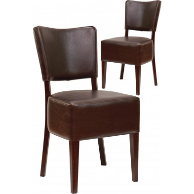 Ensemble de 2 chaises classiques en hêtre massif et simili cuir coloris brun L. 42 x P. 44 x H. 88 cm collection Algomamills