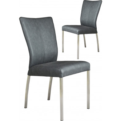 Lot  de 2 chaises modernes en acier et en simili cuir coloris noir L. 46.5 x P. 53 x H. 91 cm collection Treatment