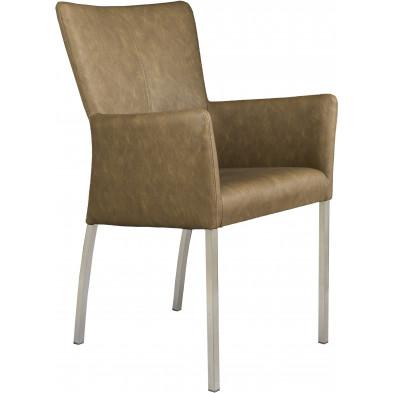 Chaise avec accoudoirs style moderne en acier et en simili cuir coloris bun L. 56 x P. 53 x H. 91 cm collection Lasenia
