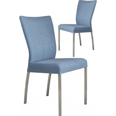 Lot de 2 chaises modernes en acier et en tissu coloris bleu  L. 46.5 x P. 53 x H. 91 cm collection Treatment