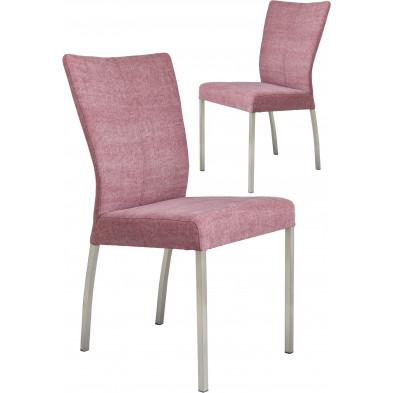 Lot de 2 chaises modernes en acier et en tissu coloris rose L. 46.5 x P. 53 x H. 91 cm collection Treatment