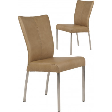 Lot de 2 chaises modernes en acier et en cuir de buffle coloris beige L. 46.5 x P. 53 x H. 91 cm collection Treatment