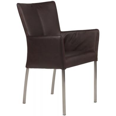 Chaise avec accoudoirs style moderne en acier et en cuir de buffle coloris marron L. 56 x P. 53 x H. 91 cm collection Lasenia