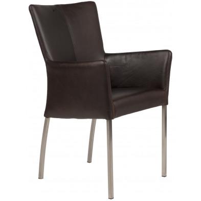 Chaise avec accoudoirs style moderne en acier et en cuir de buffle coloris brun foncé L. 56 x P. 53 x H. 91 cm collection Lasenia