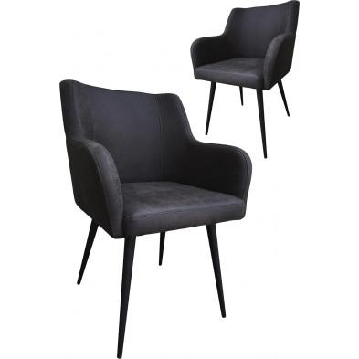 Lot de 2 chaises modernes en tissu gris antique avec piétements métalliques L. 60.5 x P. 59 x H. 84 cm collection Schroevers