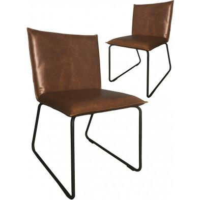 Lot de 2 chaises modernes en cuir synthétique marron antique avec piétements métalliques L. 55 x P. 50 x H. 79 cm collection Suggest