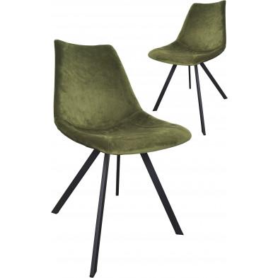 Lot de 2 chaises modernes en tissu vert olive avec piétements métalliques L. 61.5 x P. 50 x H. 84.5 cm collection Slomp