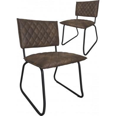 Lot de 2 chaises modernes en tissu Texas brun antique avec piétements métalliques L. 51 x P. 57 x H. 81 cm collection Lens