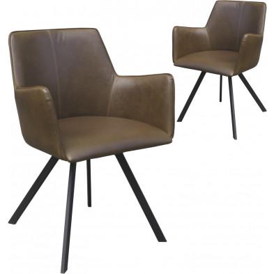 Ensemble de 2 chaises modernes en cuir synthétique marron antique avec piétements métalliques et accoudoirs L. 58.5 x P. 57 x H. 80.5 cm collection Latonia