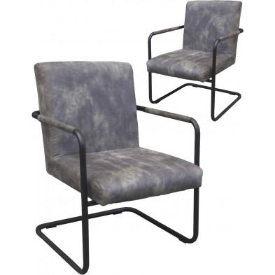 Lot de 2 chaises modernes en tissu gris antique avec piétements métalliques et accoudoirs L. 63 x P. 68 x H. 86 cm collection Piotr