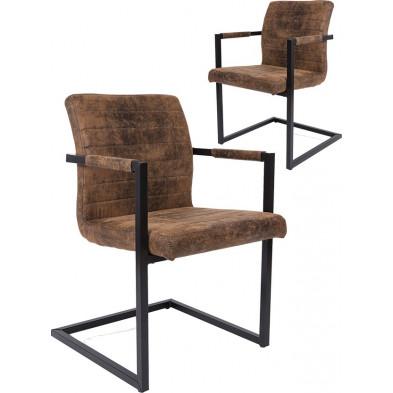 Lot de 2 chaises moderne en tissu brun antique avec piétements métalliques et accoudoirs  L. 54 x P. 53 x H. 85 cm collection Amaya