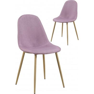 Lot de 2 chaises scandinave en tissu coloris rose et piétement bois naturel L. 45 x P. 54 x H. 87 cm collection Pesodaregua