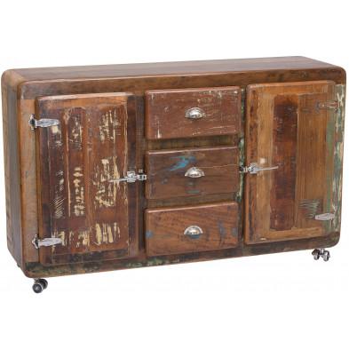 Buffet vintage en bois recyclé avec 2 portes et 3 tiroirs coloris marron et multicolore L. 150 x P. 40 x H. 90 cm collection Kingsnorton