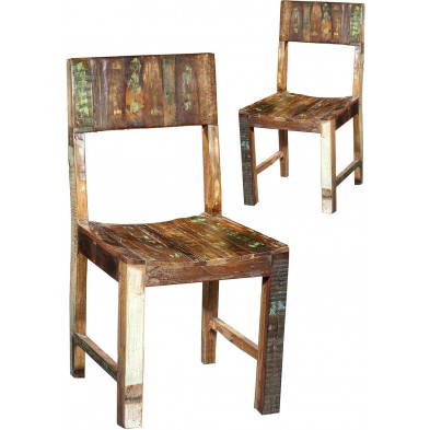 Lot de 2 chaises vintage en bois recyclé marron et multicolore L. 44 x P. 45 x H. 89 cm collection Kingsnorton