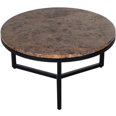 Table basse design marron industriel en acier L. 60 x P. 60 x H. 30 cm collection Orion Richmond Interiors