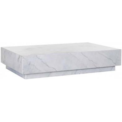 Table basse blanc design en marbre L. 129.5 x P. 80 x H. 27 cm collection Massimo Richmond Interiors