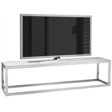 Meuble tv contemporain argenté design en acier inoxydable : L. 180 x P. 40 x H. 45 cm collection Levanto Richmond Interiors