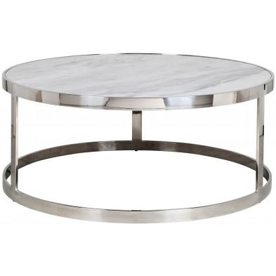 Table basse argenté design en acier inoxydable L. 95 x P. 95 x H. 40 cm collection Levanto Richmond Interiors
