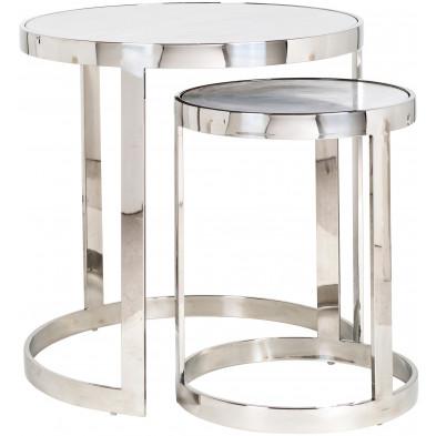 Lot de 2 Tables d'appoint argenté design en acier inoxydable  L. 60 x P. 60-50 x H. 60 cm collection Levanto Richmond Interiors