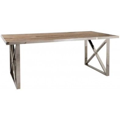 Table de salle à manger contemporaine argenté design en acier inoxydable et bois massif  L. 200 x P. 100 x H. 78 cm collection Redmont Richmond Interiors