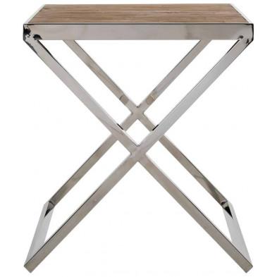 Table d'appoint argenté industriel en acier inoxydable et bois massif L. 55 x P. 55 x H. 60 cm  collection Redmont Richmond Interiors
