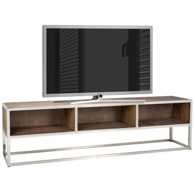 Meuble tv argenté contemporain en acier inoxydable L. 180 x P. 40 x H. 50 cm collection Maddox Richmond Interiors