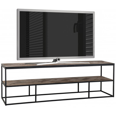 Meuble tv marron contemporain en acier L. 160 x P. 40 x H. 50 cm collection Herringbone Richmond Interiors