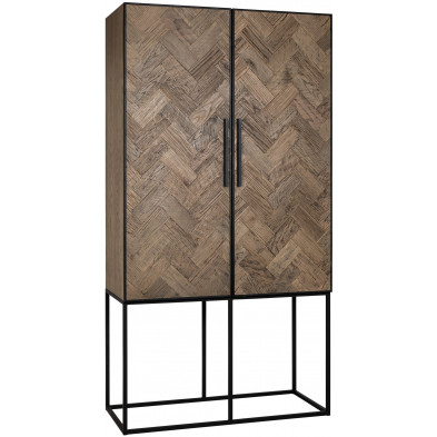 Meuble de rangement marron contemporain en acier et bois massif    L. 110 x P. 50 x H. 210 cm collection Herringbone Richmond Interiors