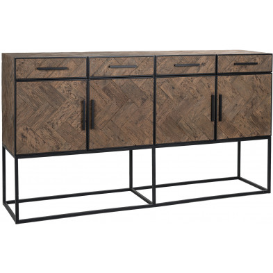 Buffet - bahut - enfilade design marron contemporain en acier et bois massif  L. 200 x P. 47 x H. 110 cm  collection Herringbone Richmond Interiors