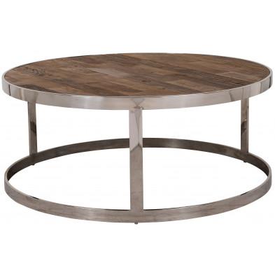Table basse argenté industriel en acier inoxydable et bois   L. 95 x P. 95 x H. 40 cm  collection Maddox Richmond Interiors