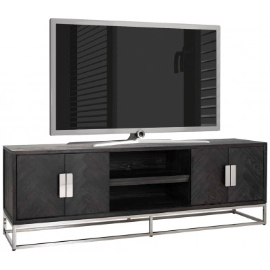 Meuble tv contemporain argenté design en acier inoxydable  et bois massif : L. 185 x P. 43 x H. 60 cm collection Blackbone-Silver Richmond Interiors