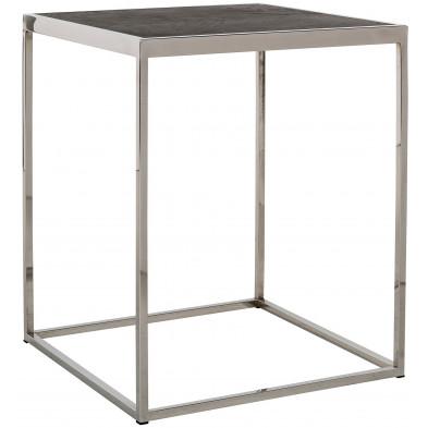 Table d'appoint argenté design en acier inoxydable L. 50 x P. 50 x H. 60 cm  collection Blackbone-Silver Richmond Interiors