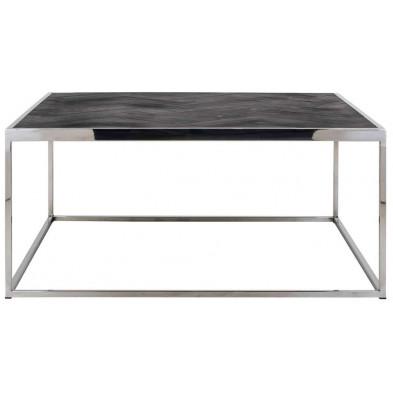 Table basse argenté design en acier inoxydable L. 90 x P. 90 x H. 40 cm collection Blackbone-Silver Richmond Interiors