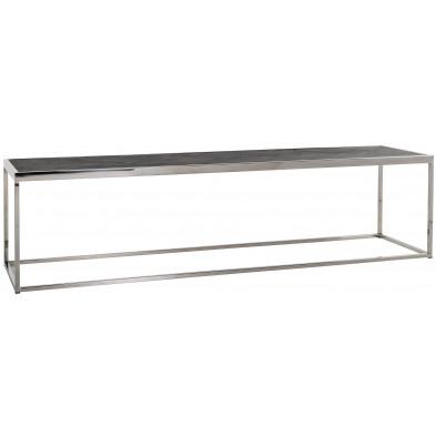 Table basse argenté design en acier inoxydable L. 160 x P. 40 x H. 40 cm collection Blackbone-Silver Richmond Interiors