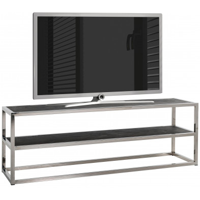 Meuble tv contemporain argenté design en acier inoxydable L. 150 x P. 40 x H. 50 cm collection Blackbone-Silver Richmond Interiors