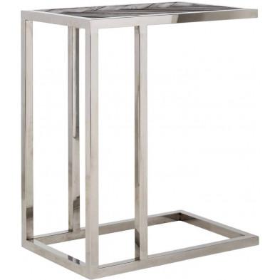 Table d'appoint argenté design en acier inoxydable L. 55 x P. 35 x H. 60 cm collection Blackbone-Silver Richmond Interiors
