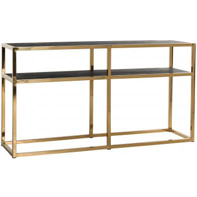 Console noir design en acier inoxydable  et bois massif L. 150 x P. 40 x H. 80 cm collection Blackbone-gold Richmond Interiors