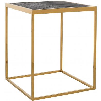 Table d'appoint noir design en acier inoxydable et bois massif L. 50 x P. 50 x H. 60 cm collection Blackbone-gold Richmond Interiors