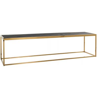Table basse noir design en acier inoxydable  et bois massif L. 160 x P. 40 x H. 40 cm collection Blackbone-gold Richmond Interiors