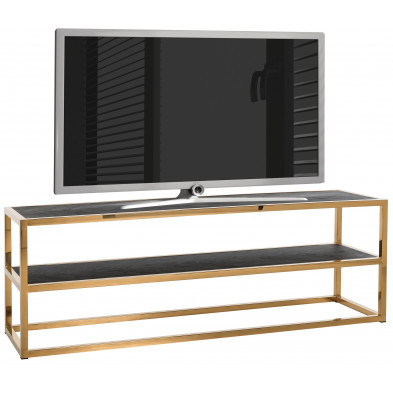 Meuble tv contemporain noir design en acier inoxydable et bois massif   L. 150 x P. 40 x H. 50 cm collection Blackbone-gold Richmond Interiors