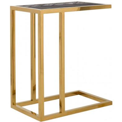 Table d'appoint noir design en acier inoxydable et bois massif  L. 55 x P. 35 x H. 60 cm collection Blackbone-gold Richmond Interiors