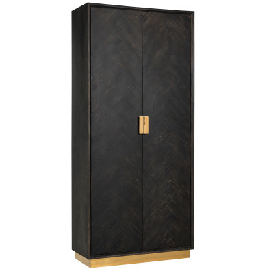 Argentier - vaisselier - vitrine  noir design en acier inoxydable et bois massif   L. 100 x P. 45 x H. 220 cm  collection Blackbone-gold Richmond Interiors
