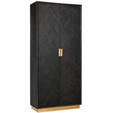 Argentier - vaisselier - vitrine  noir design en acier inoxydable et bois massif   L. 100 x P. 45 x H. 220 cm  collection Blackbone-gold Richmond Interiors