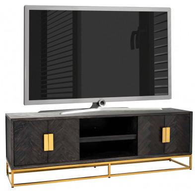 Meuble tv  noir design en acier inoxydable L. 185 x P. 43 x H. 60 cm collection Blackbone-gold Richmond Interiors