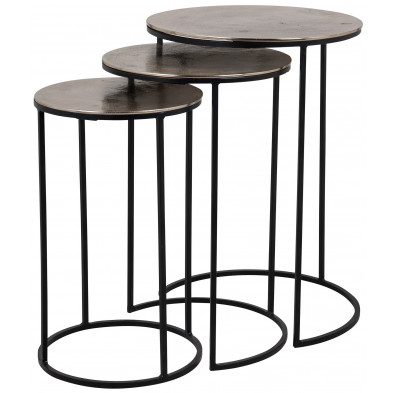 Table d'appoint marron industriel en acier et aluminium L. 42 x P. 42-54 x H. 60 cm collection Nolan Richmond Interiors