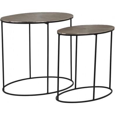 Table d'appoint marron industriel en acier 53 cm x 35-45 cm collection Oval Richmond Interiors