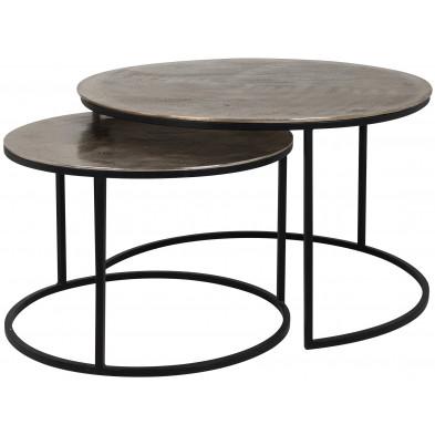 Table d'appoint marron industriel en Aluminium + Acier  L. 82 x P. 82-41 x H. 47 cm collection Asher Richmond Interiors