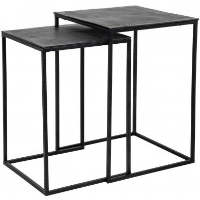 Table d'appoint marron industriel en acier et aluminium L. 40 x P. 40-51 x H. 56 cm  collection Jaysen Richmond Interiors